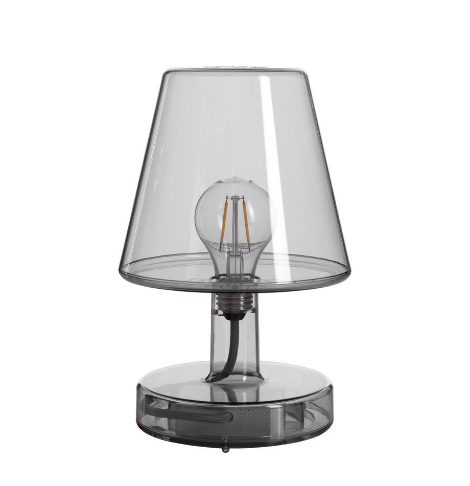 Mobile Dimmbare Außentischlampe Transloetje, Kunststoff, Grau, transparent, Ø 17 x H 27 cm