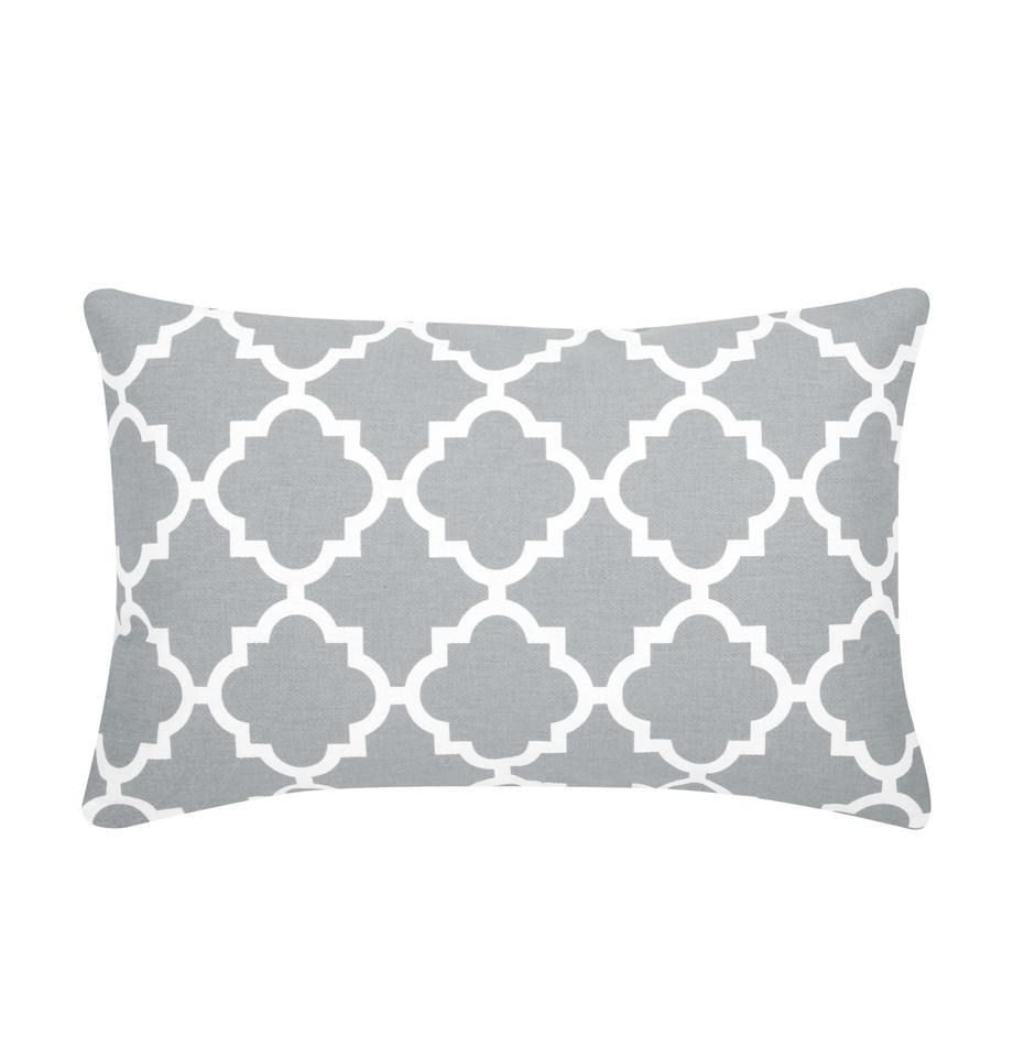Federa arredo con motivo grafico Lana, 100% cotone, Grigio, bianco, Larg. 30 x Lung. 50 cm