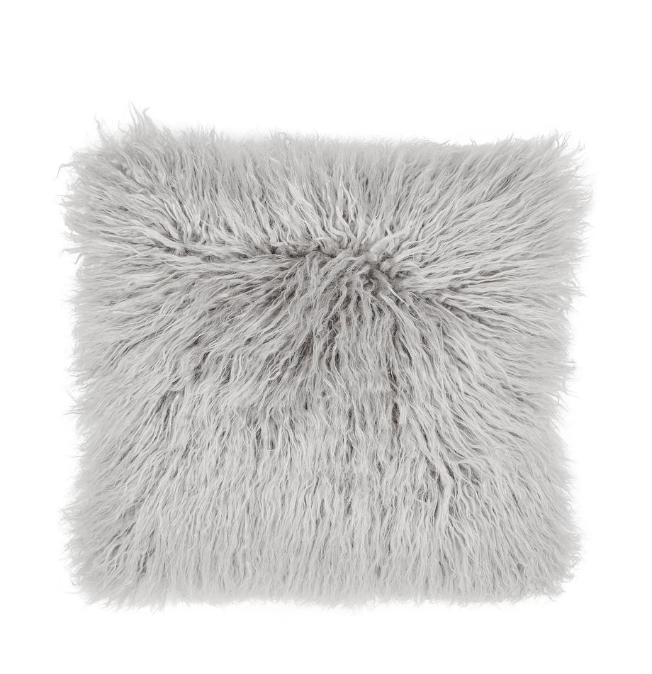 Poszewka na poduszkę ze sztucznego futra Morten, kędzierzawa, Jasny szary, S 40 x D 40 cm