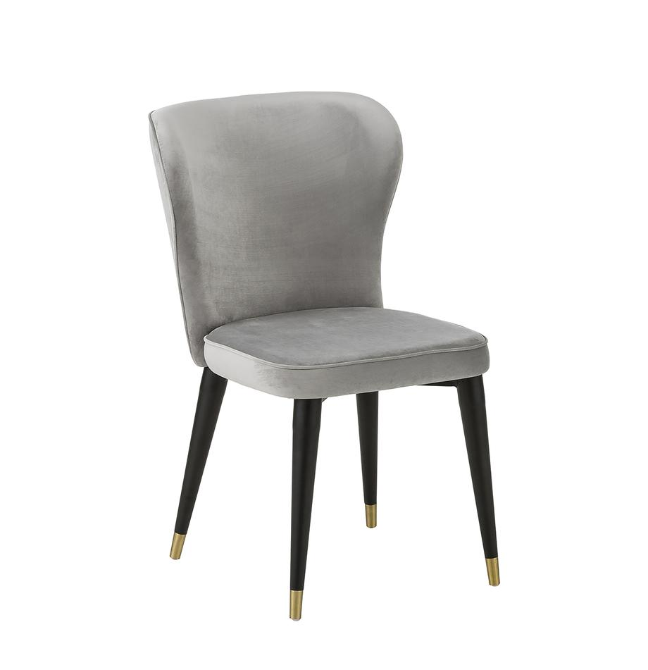 Fluwelen stoel Cleo, Bekleding: fluweel (polyester), Poten: gelakt metaal, Fluweel grijs, B 51 x D 62 cm