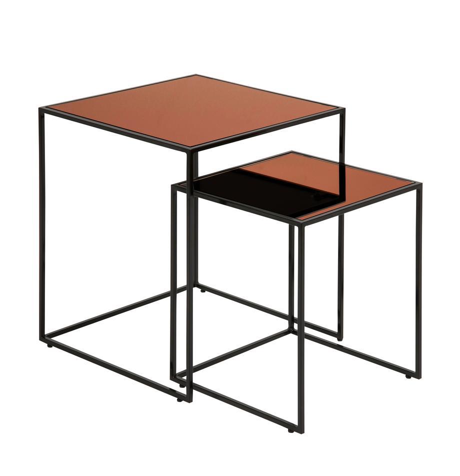 Set 2 tavolini con piano in vetro Bolton, Struttura: acciaio, verniciato a pol, Piano d'appoggio: vetro temperato, rivestit, Nero, colori rame, Set in varie misure