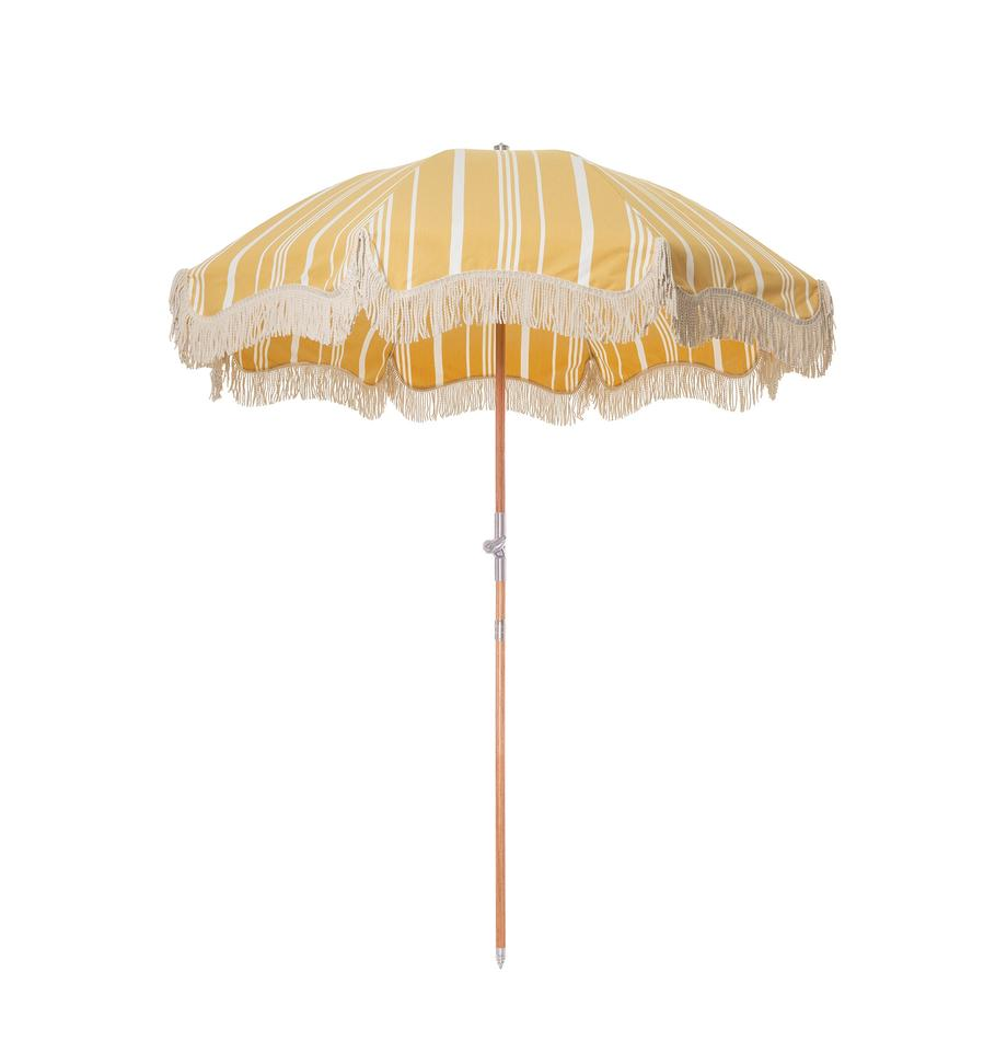 Sombrilla Retro, Estructura: madera laminada, Flecos: algodón, Amarillo, blanco crudo, Ø 180 x Al 230 cm