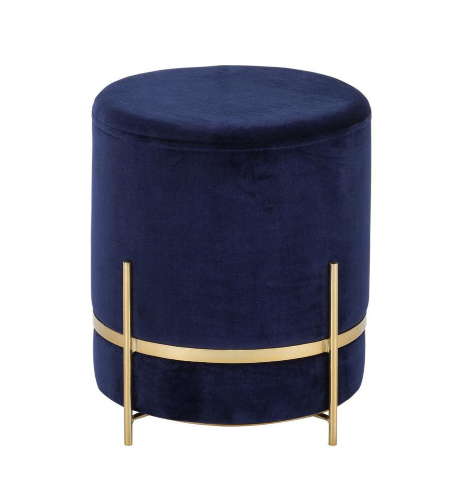 Puf de terciopelo Haven, Tapizado: terciopelo de algodón, Patas: metal con pintura en polv, Azul marino, dorado, Ø 38 x Al 45 cm
