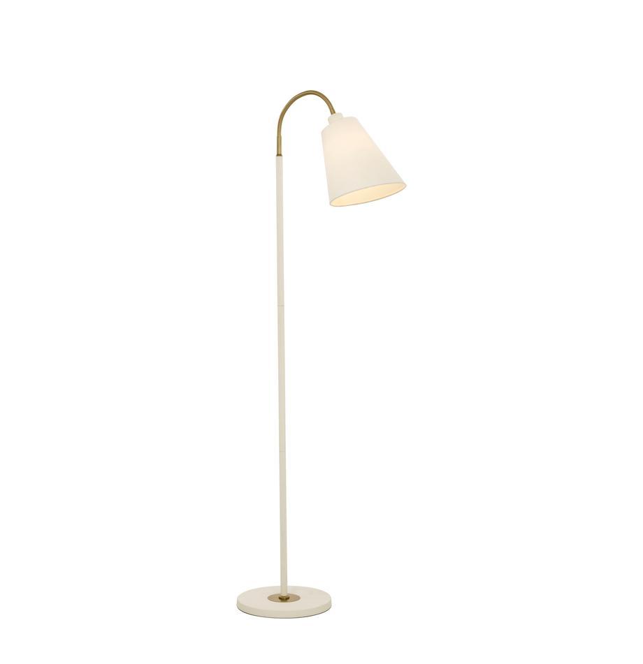 Kleine leeslamp Ljusdal met goudkleurig-decoratie, Lampenkap: polyester, Lampvoet: gecoat metaal, Decoratie: gecoat metaal, Wit, messingkleurig, 52 x 140 cm