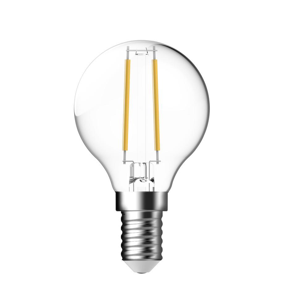 Bombilla E14, 2.5W, blanco cálido, 1ud., Ampolla: vidrio, Casquillo: aluminio, Transparente, Ø 5 x Al 8 cm