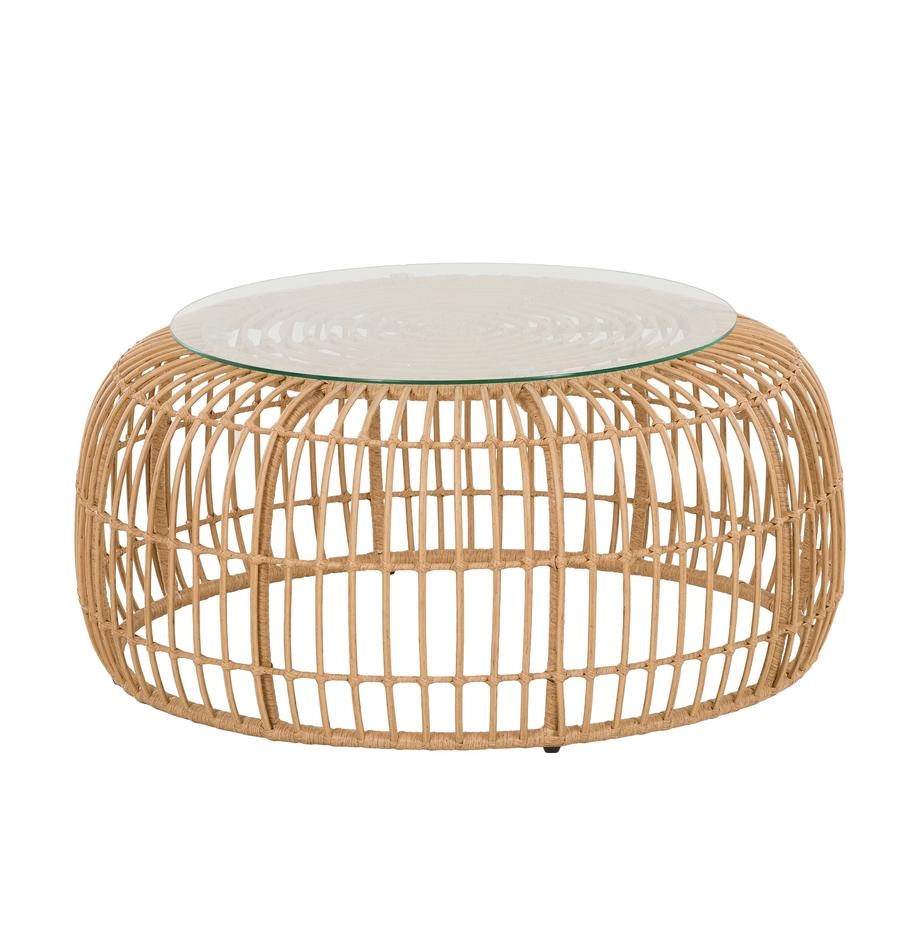 Tavolino da salotto con intreccio Beliz, Piano d'appoggio: vetro, Struttura: treccia in polietilene, Marrone chiaro, Ø 85 x Alt. 42 cm