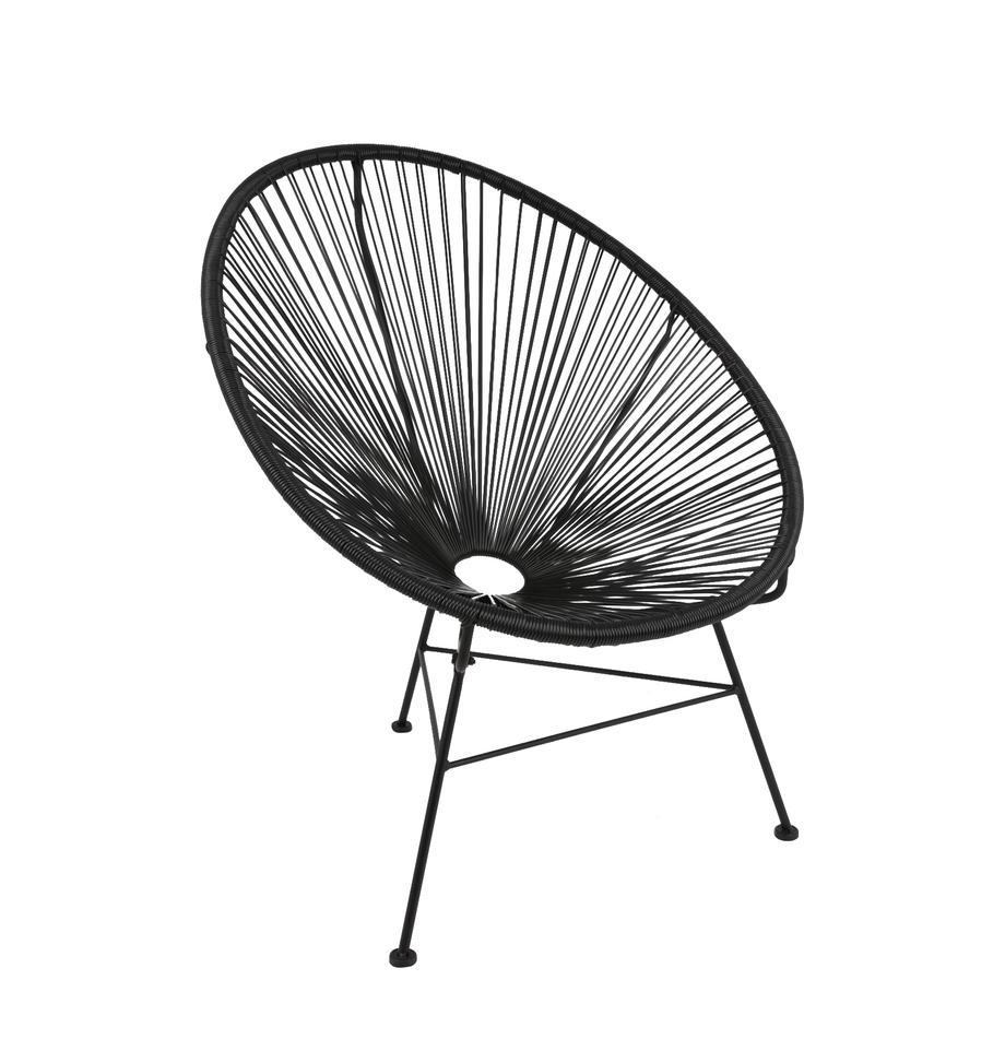 Loungefauteuil Bahia uit kunstvlechtwerk, Zitvlak: kunststof, Frame: gepoedercoat metaal, Zitvlak: zwart. Frame: zwart, B 81 x D 73 cm