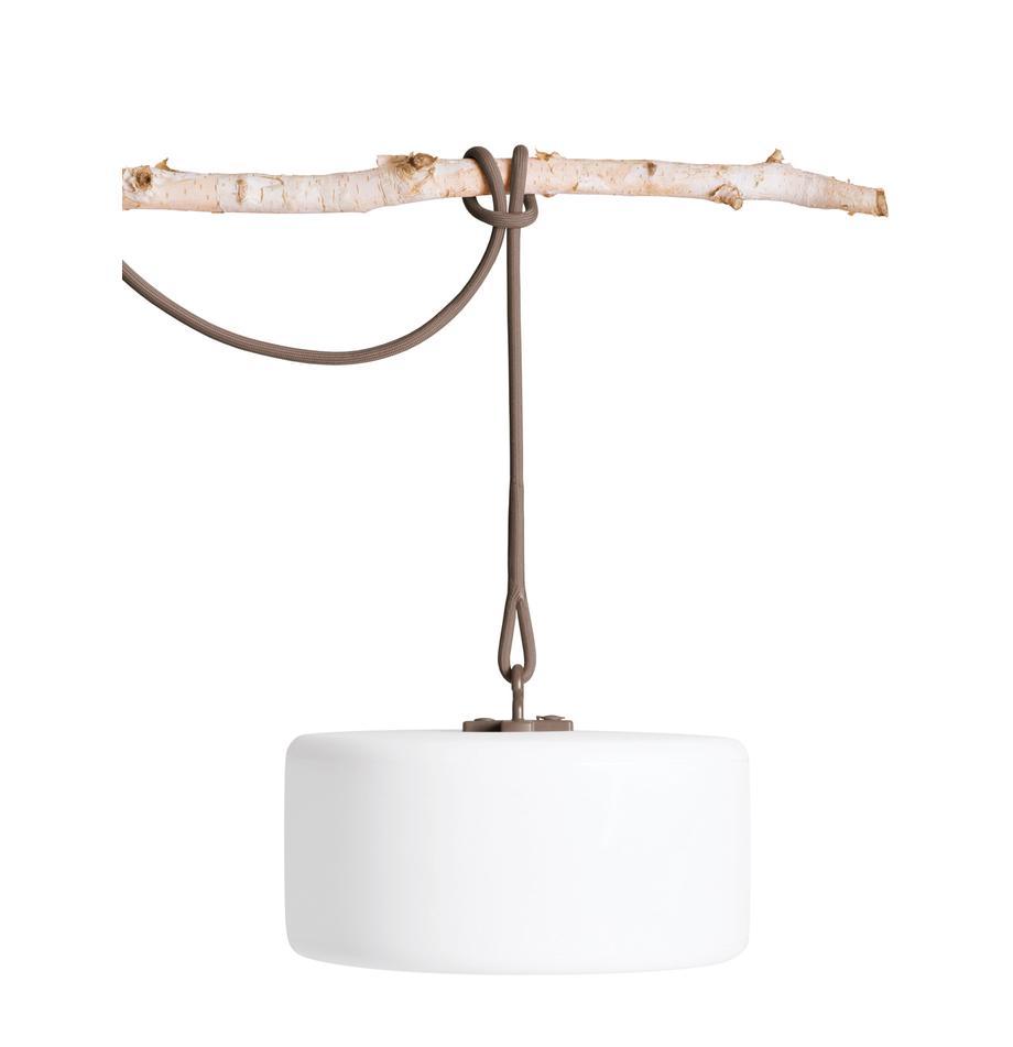 Mobile LED-Außenleuchte Thierry, Weiß, Taupe, Ø 41 x H 21 cm