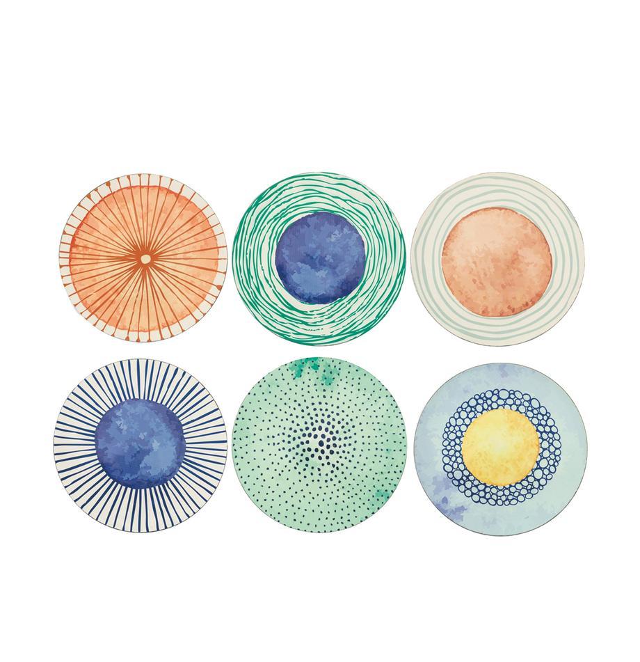 Kunststoff-Platzteller Marea mit bunten Designs, 6er-Set, Kunststoff, Blau, Weiss, Gelb, Grün, Orange, Ø 33 cm