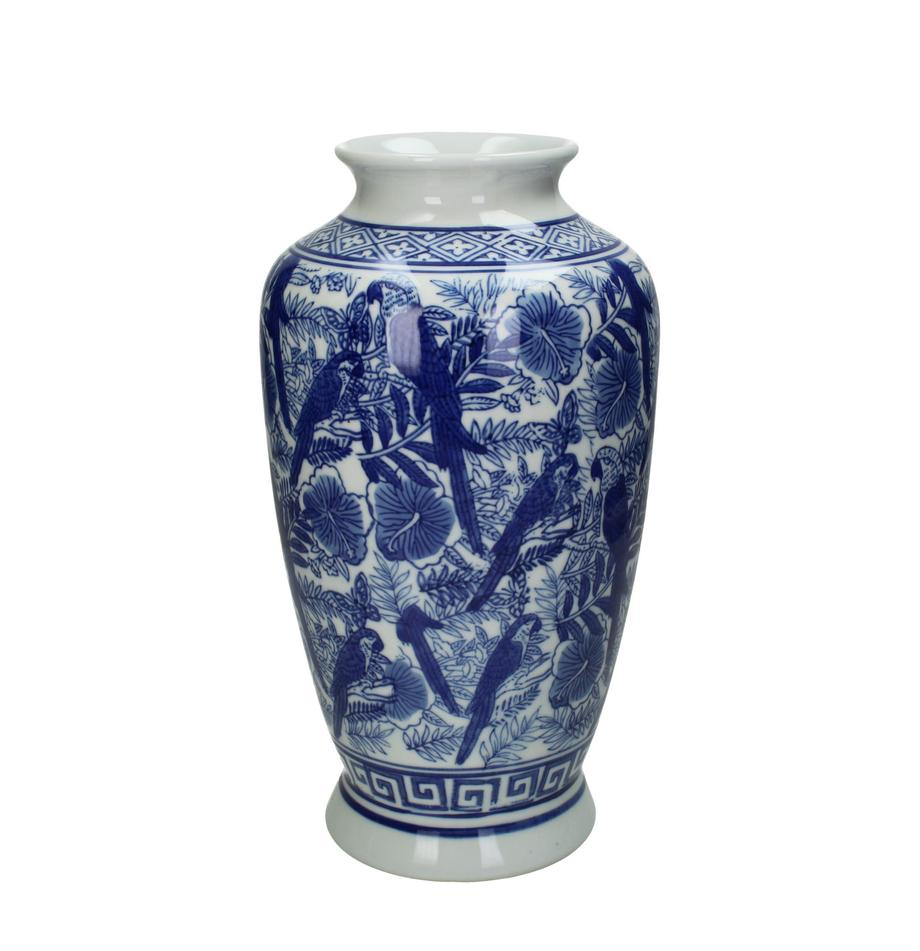 Duży wazon z porcelany Tourmaline, Porcelana, Niebieski, biały, Ø 16 x W 31 cm