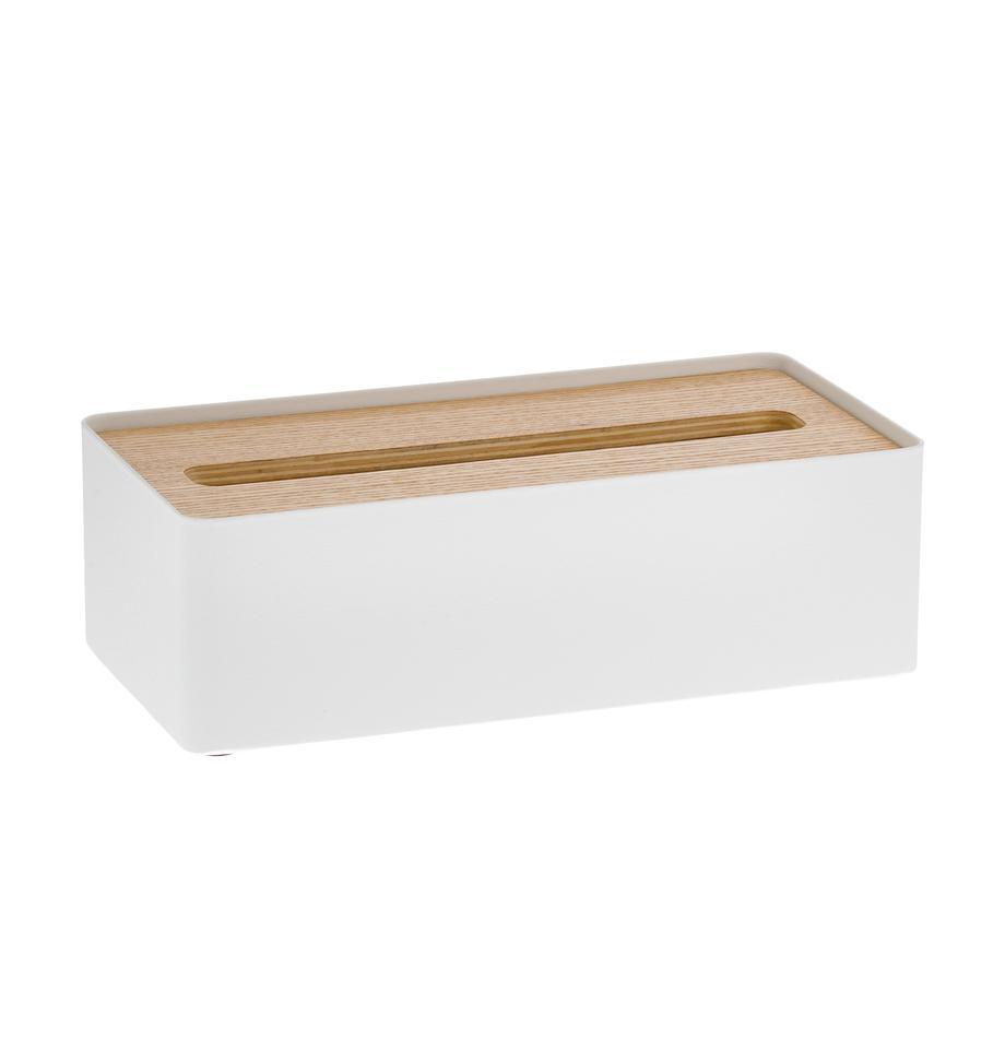 Kosmetiktuchbox Rin mit abnehmbaren Bambus-Deckel, Deckel: Holz, Box: Stahl, lackiert, Weiss, Braun, 26 x 8 cm