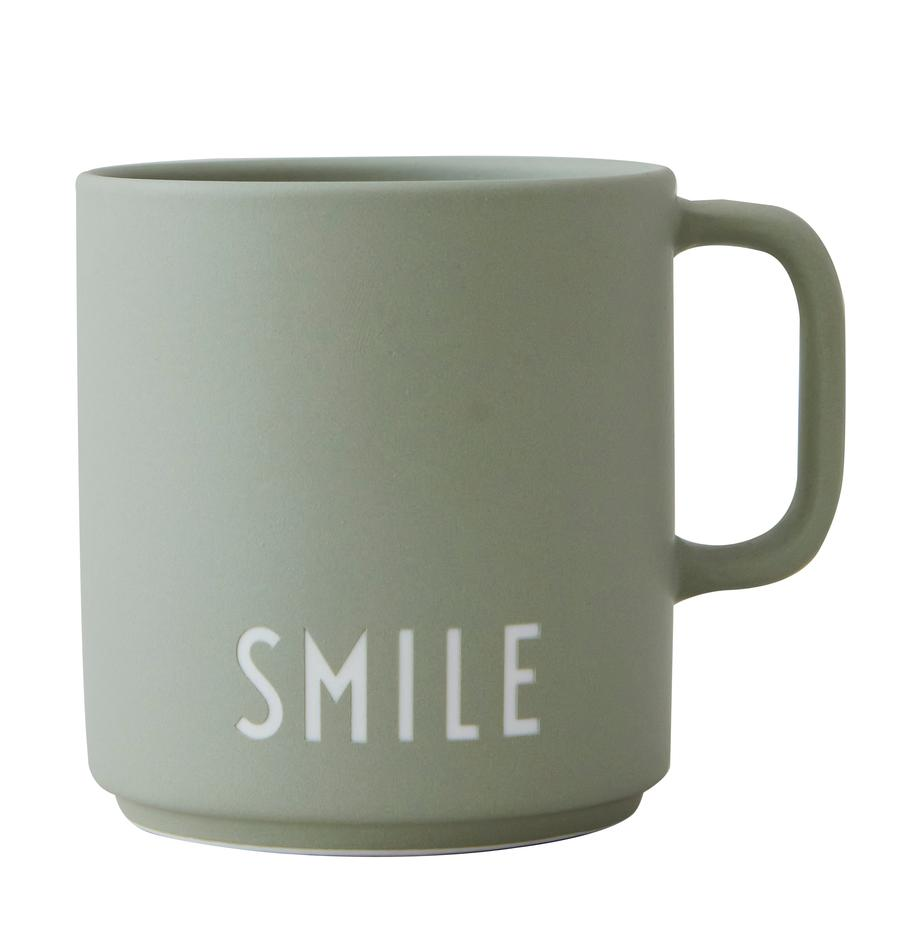 Taza de diseño Favourite SMILE, Porcelana fina Bone China, Gris verdoso, blanco, Ø 10 x Al 9 cm