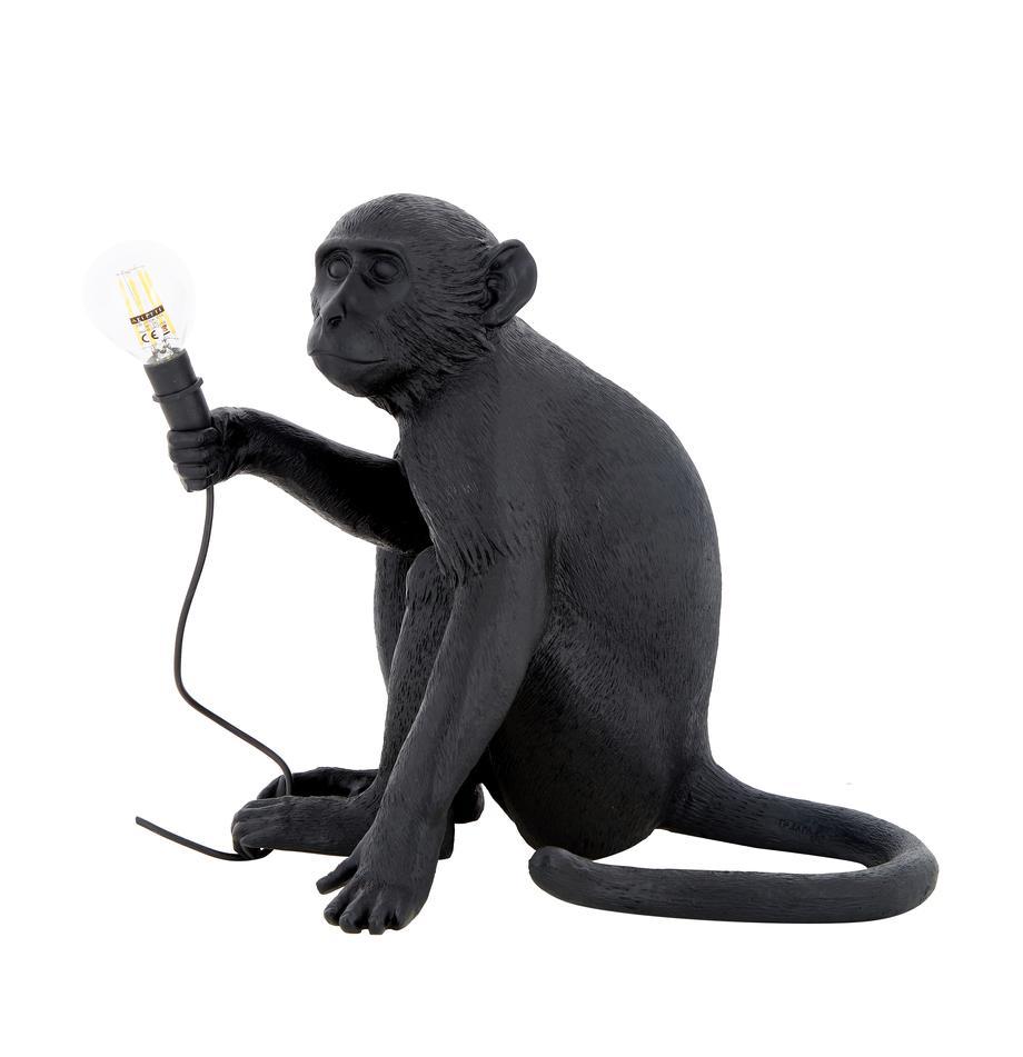 Design Aussentischlampe Monkey mit Stecker, Leuchte: Kunstharz, Schwarz, 34 x 32 cm