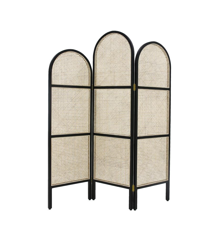 Paravento Webbing, Cornice: legno Sungkai, Nero, Larg. 150 x Alt. 180 cm