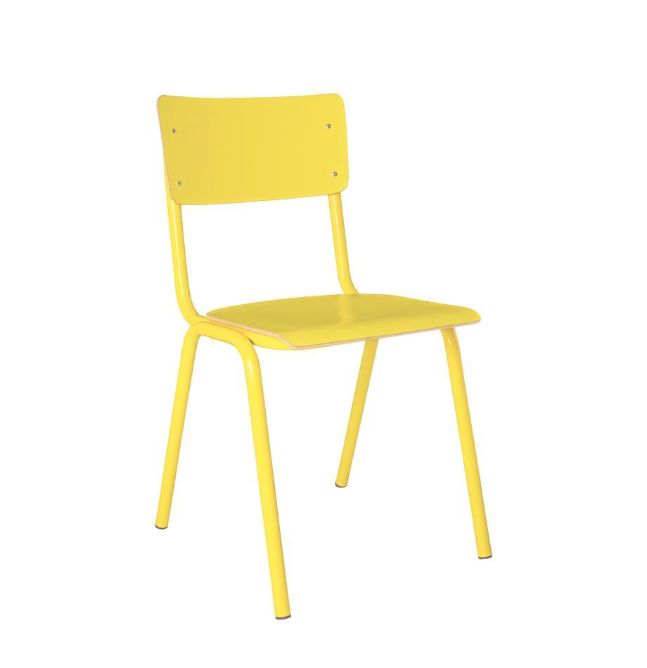 Krzesło Back to School, Nogi: metal malowany proszkowo, Żółty, S 43 x G 49 cm