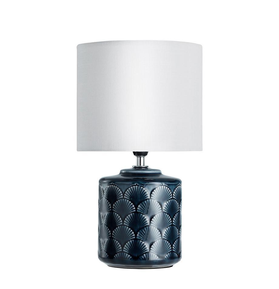 Lampada da tavolo in ceramica Lola, Paralume: lino, Base della lampada: ceramica, Blu scuro, bianco, Ø 18 x Alt. 32 cm
