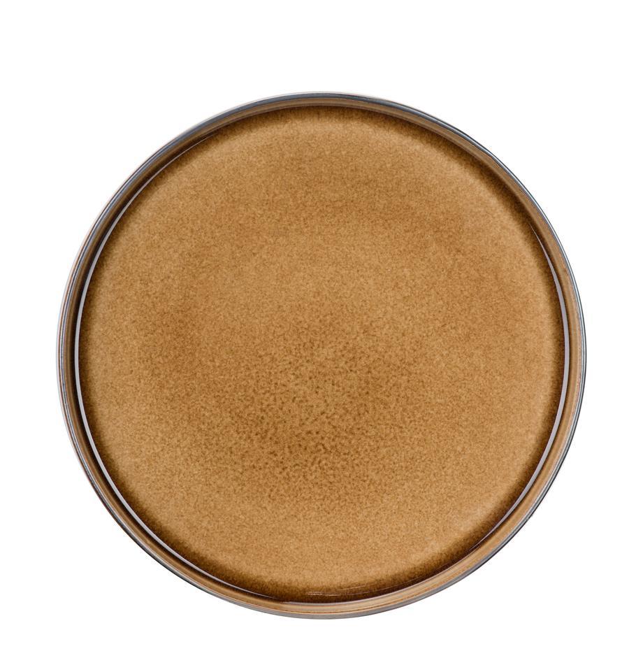 Dinerborden Quintana, 2 stuks, Porselein, Amberkleurig, bruin, blauw, Ø 28 cm