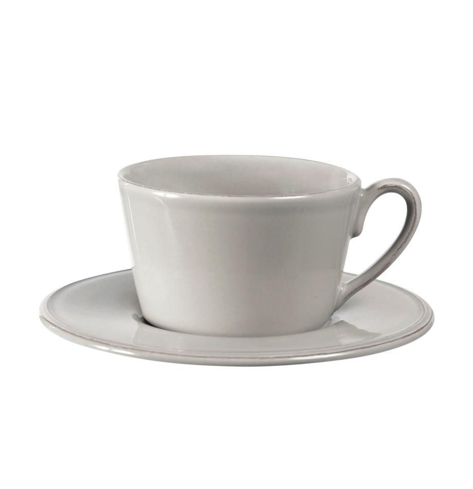 Tazza da tè con piattino stile country Constance, Terracotta, Grigio chiaro, Ø 19 x Alt. 8 cm