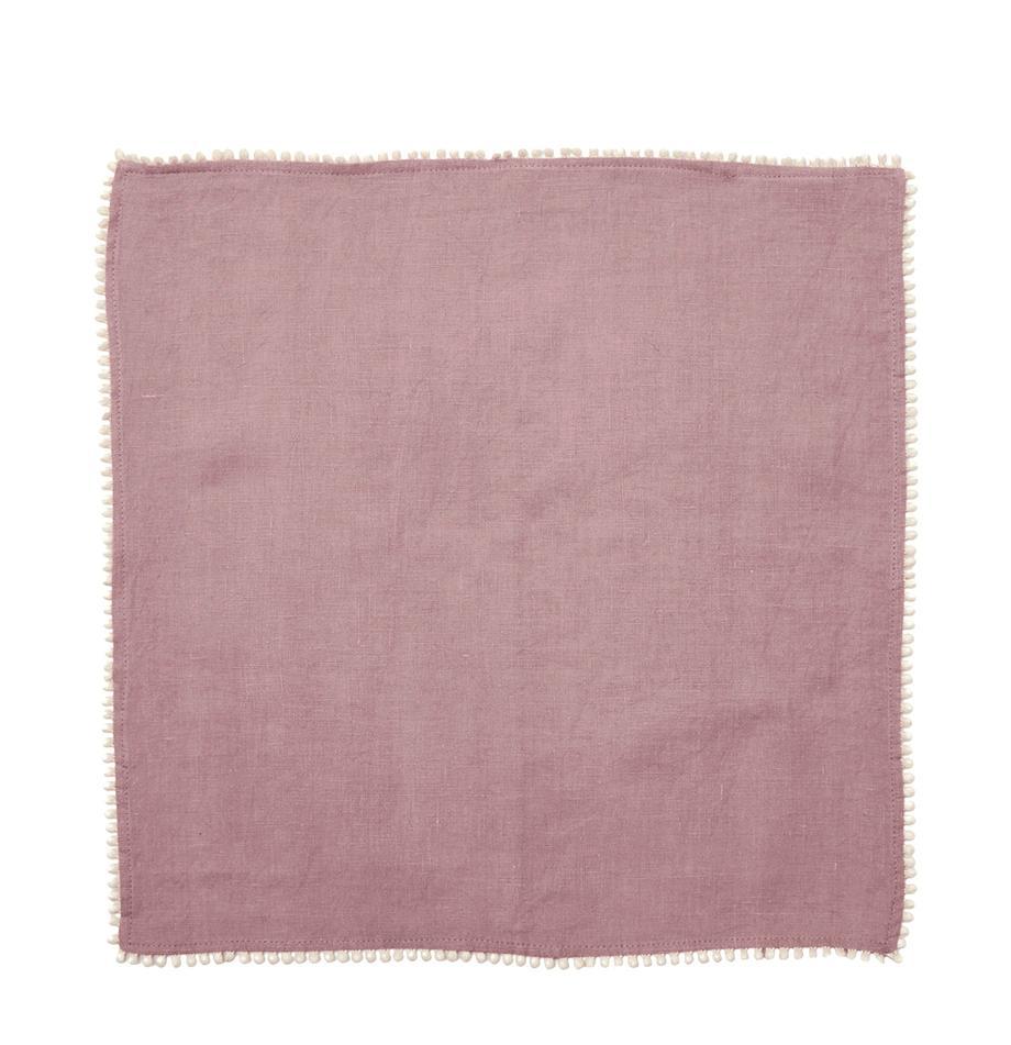 Servilletas de lino Pom Pom, 4uds., Lino, Rosa palo, An 46 x L 46 cm