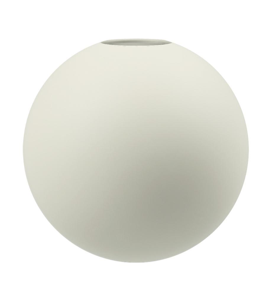 Handgefertigte Kugel-Vase Ball, Keramik, Vanille, Ø 10 x H 10 cm