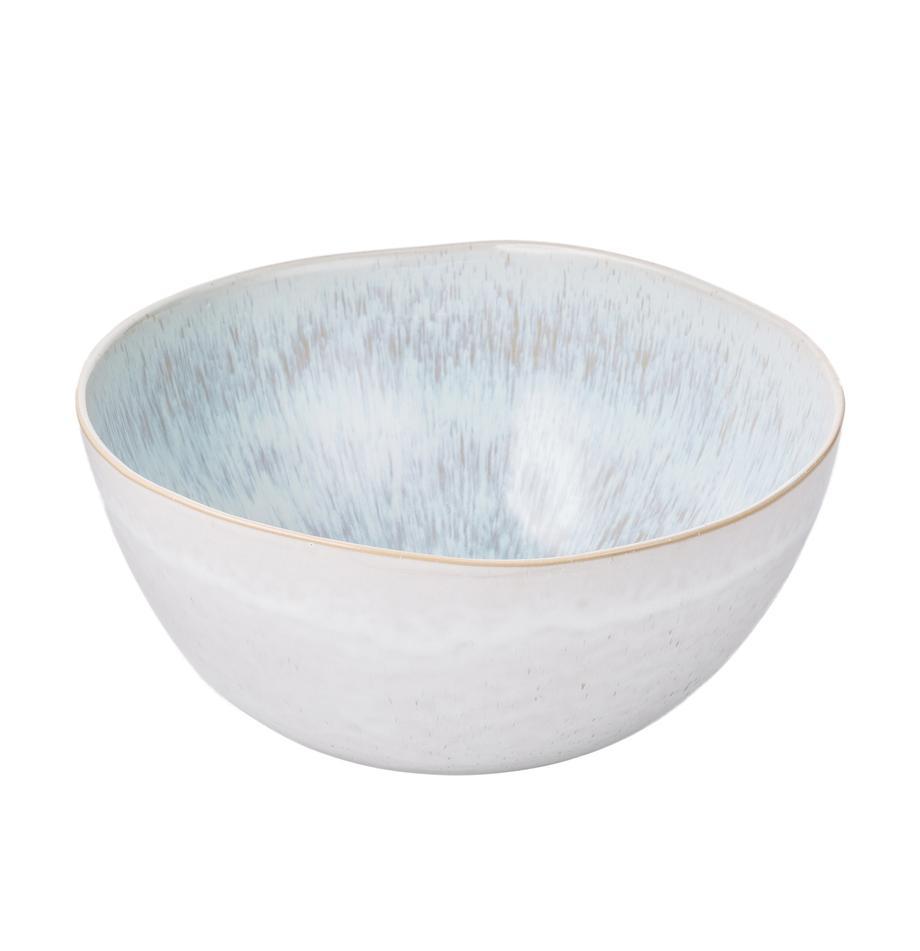 Insalatiera dipinta a mano con smalto reattivo Areia, Terracotta, Azzurro, bianco latteo, beige chiaro, Ø 26 x Alt. 12 cm