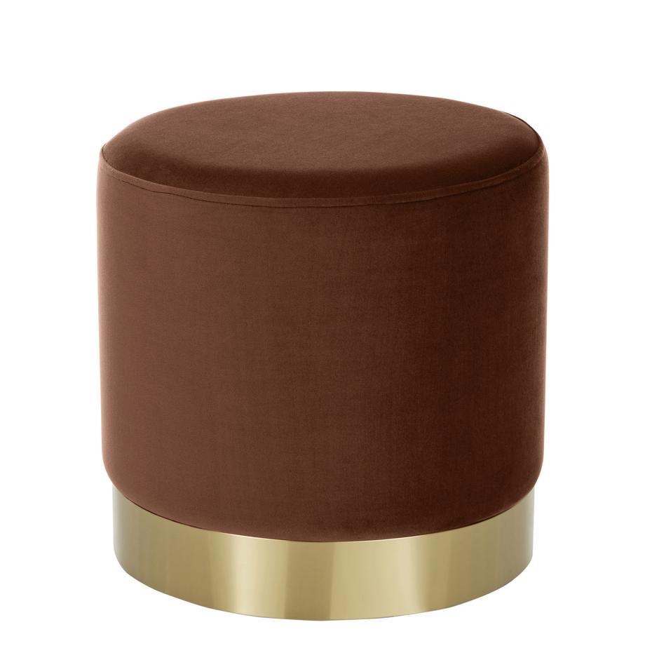 Fluwelen poef Orchid in bruin, Bekleding: fluweel (100% polyester), Frame: karton, multiplex, Voet: gecoat metaal, Fluweel bruin, Ø 38 x H 38 cm