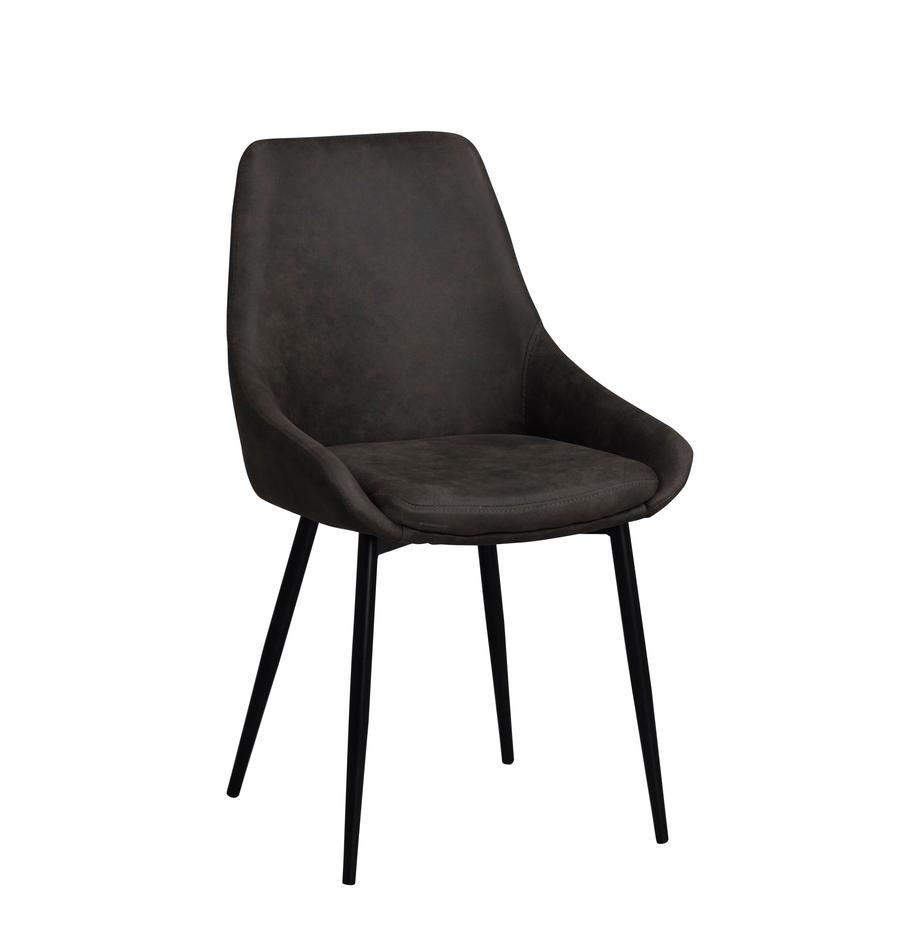 Gestoffeerde stoelen Sierra, 2 stuks, Bekleding: polyester, Poten: gelakt metaal, Donkergrijs, zwart, B 49 x D 55 cm