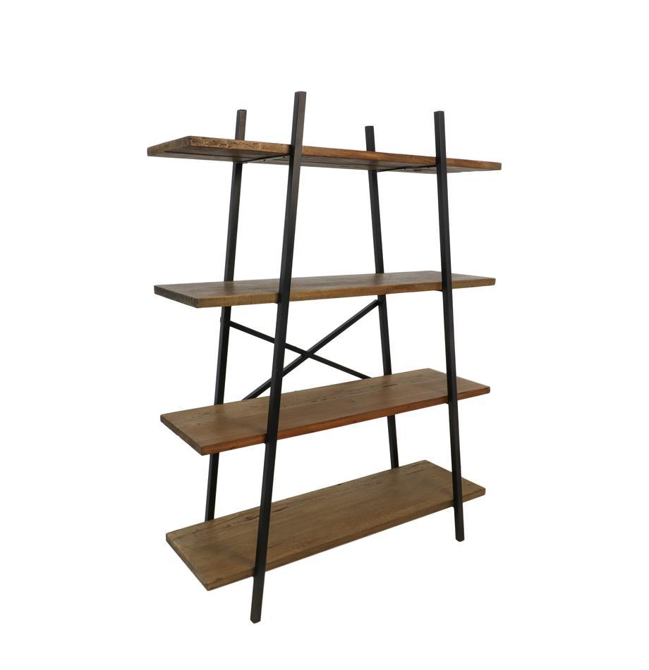 Libreria in stile industriale Levin, Ripiani: legno misto Java Struttur, Marrone, nero, Larg. 120 x Alt. 160 cm