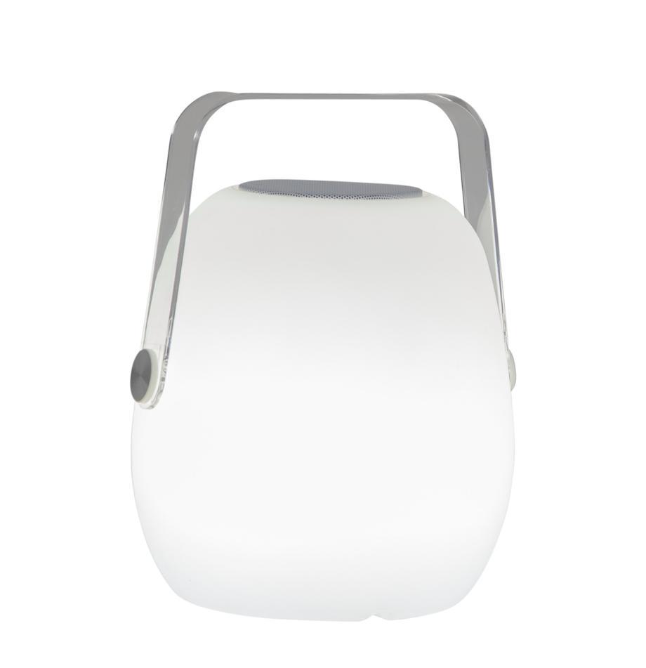 Mobile Dimmbare Aussentischlampe Voice mit Lautsprecher und Farbwechsel, Lampenschirm: Kunststoff, Griff: Kunststoff, Dekor: Metall, Weiss, 18 x 23 cm