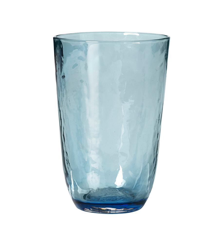 Mundgeblasene Wassergläser Hammered mit unebener Oberfläche, 4er-Set, Glas, mundgeblasen, Blau, transparent, Ø 9 x H 14 cm