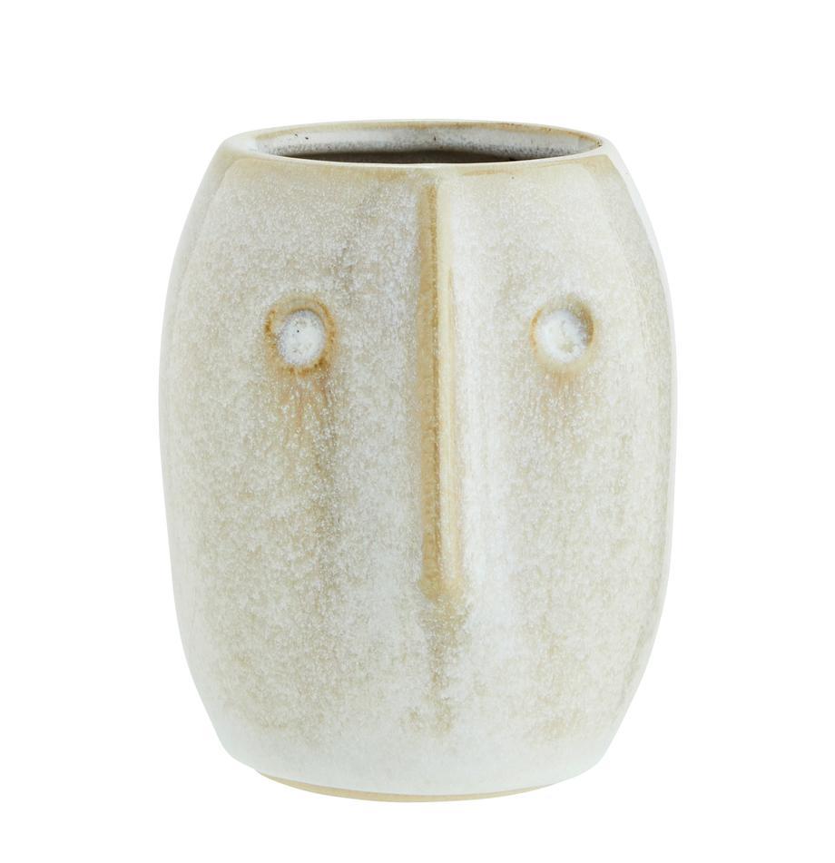 XS Übertopf Face aus Steingut, Steingut, Weiß, Beige, Ø 8 x H 10 cm