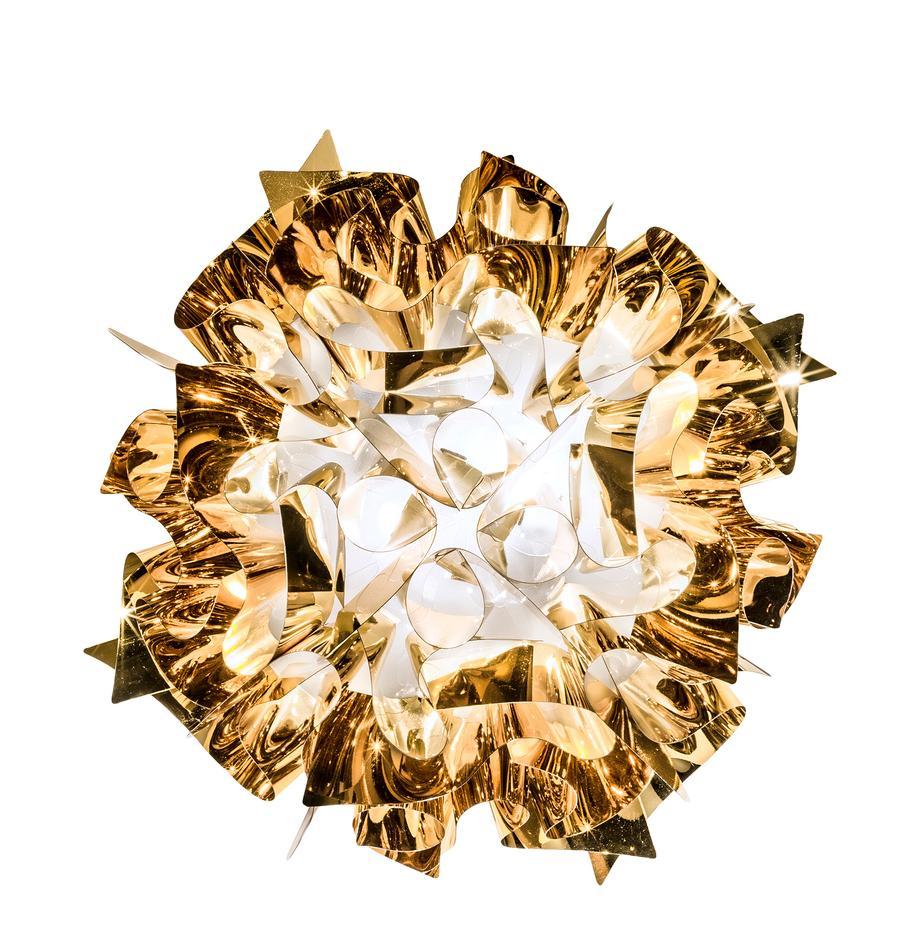 Design plafondlamp Veli uit kunststof, Technoplymeer Goldflex®, breekvast, flexibel, sterk glanzend, Goudkleurig, Ø 53 x H 20 cm
