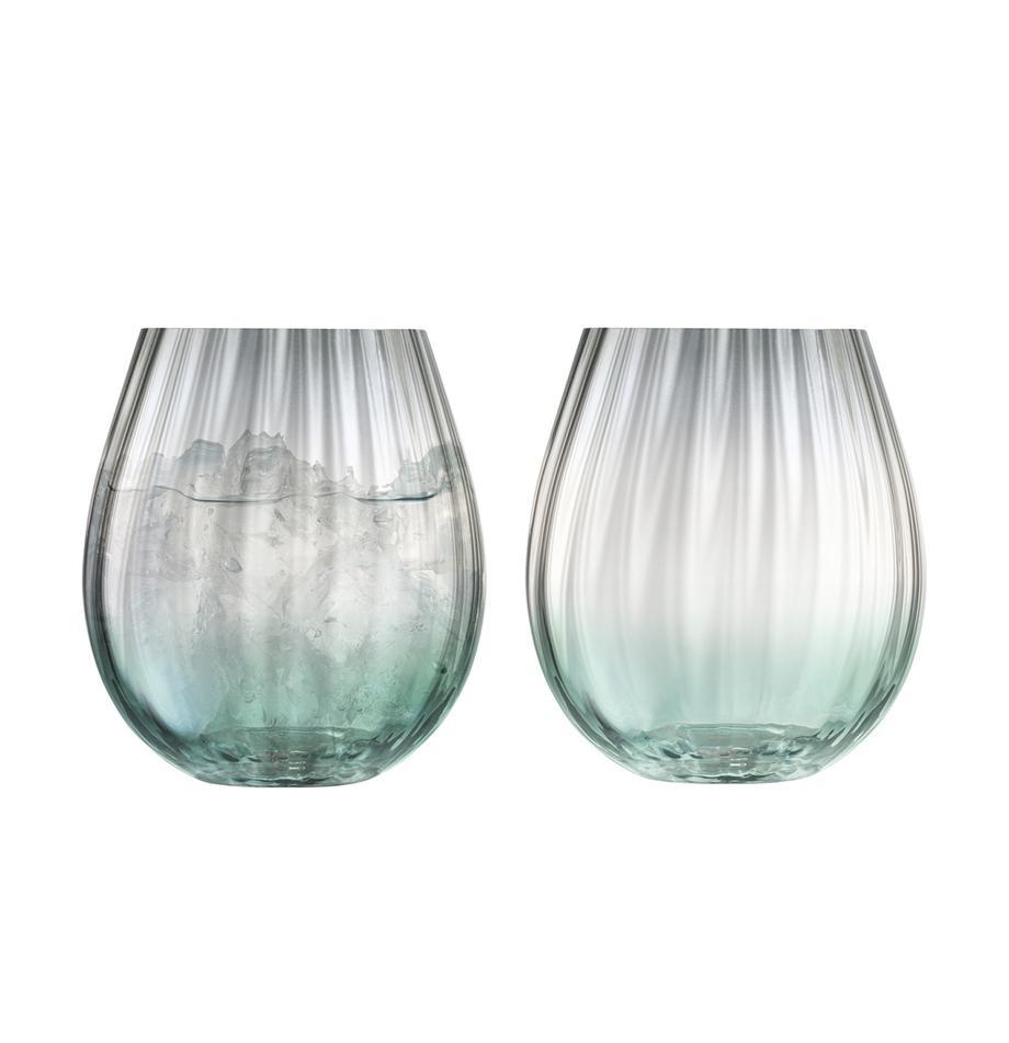 Komplet ręcznie wykonanych szklanek do wody Dusk, 2 elem., Szkło, Zielony, szary, Ø 9 x W 10 cm