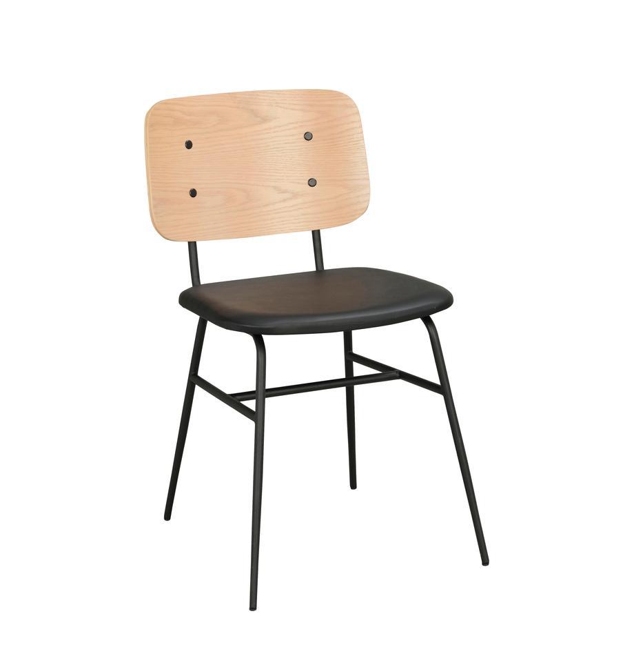 Holzstühl Brent, Rückenlehne: Eichenfurniersperrholz, l, Sitzfläche: Kunstleder (Polyurethan), Gestell: Metall, lackiert, Eiche, B 47 x T 57 cm