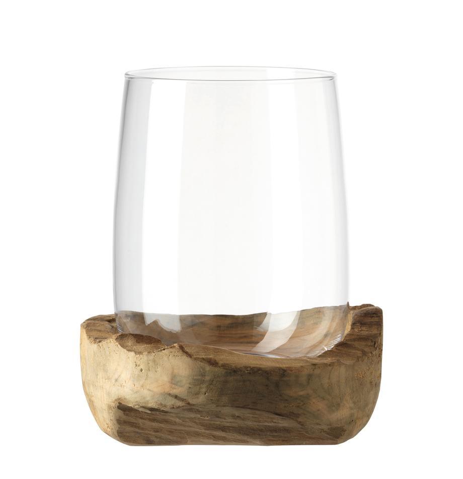 Handgefertigtes Windlicht Terra mit Teaksockel, Windlicht: Glas, Sockel: Teakholz, Transparent, Ø 23 x H 27 cm