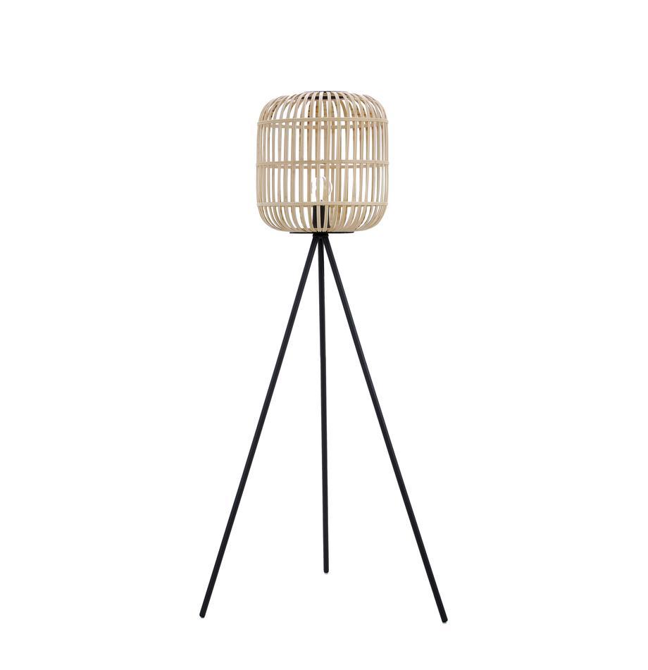 Lámpara de pie tripode Bordesley, estilo boho, Pantalla: madera, Negro, bayo, Ø 35 x Al 139 cm