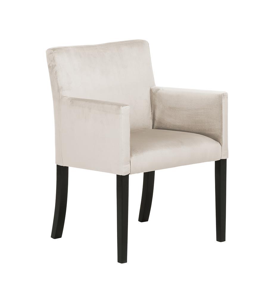 Sedia con braccioli   in velluto Boston, Rivestimento: velluto (rivestimento in , Gambe: legno di faggio massello , Rivestimento: beige Gambe: nero, Larg. 60 x Prof. 60 cm