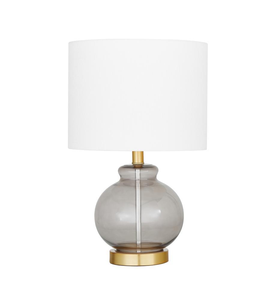 Lampa stołowa ze szklaną podstawą Natty, Biały, niebieskoszary, transparentny, Ø 31 x W 48 cm