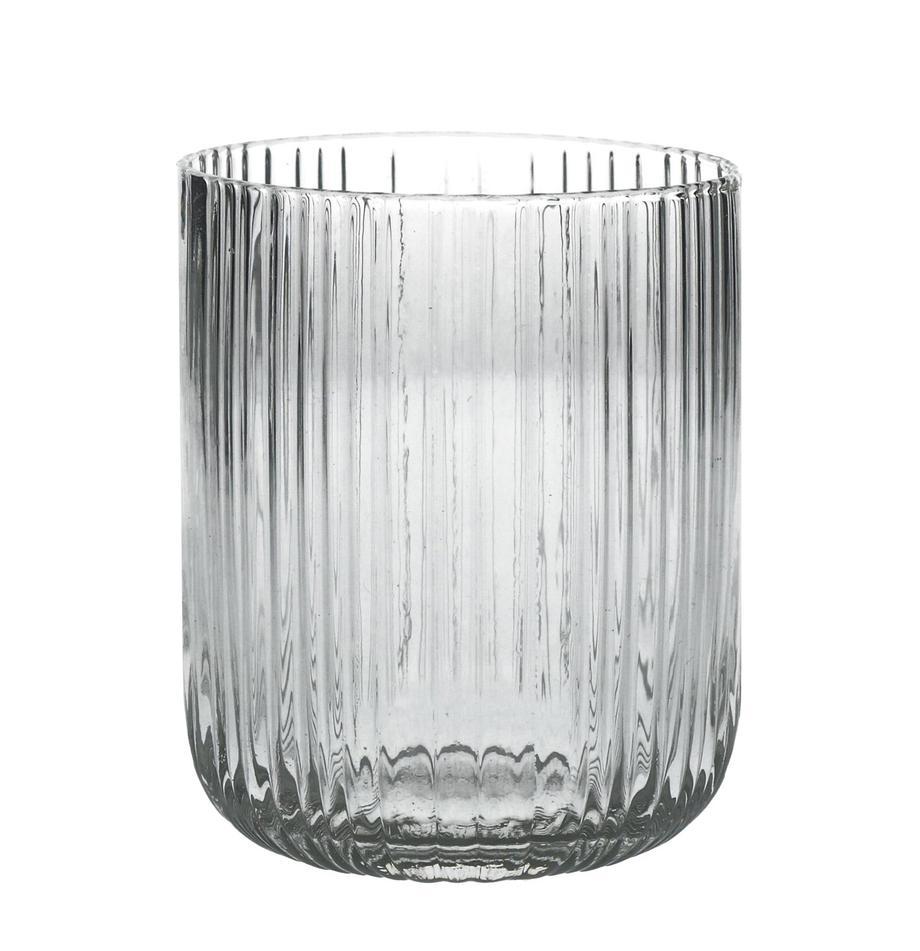 Bicchiere acqua con struttura rigata Canise 6 pz, Vetro, Trasparente, Ø 8 x Alt. 9 cm