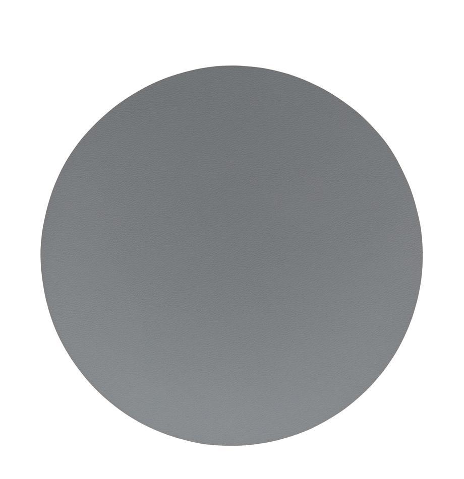 Runde Kunstleder-Tischsets Pik, 2 Stück, Kunstleder (PVC), Anthrazit, Ø 38 cm