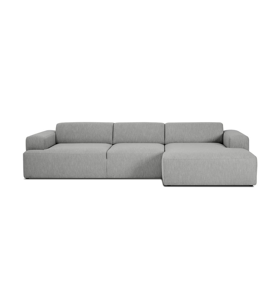 Ecksofa Melva (4-Sitzer) in Grau, Bezug: Polyester Der hochwertige, Gestell: Massives Kiefernholz, Spa, Webstoff Grau, B 319 x T 144 cm