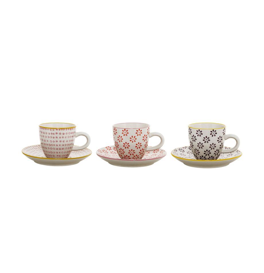 Espressotassen mit Untertassen Susie mit kleinem Muster, 3 Stück, Keramik, Weiß, Rot, Rosa, Schwarz, Gelb, Ø 6 x H 6 cm
