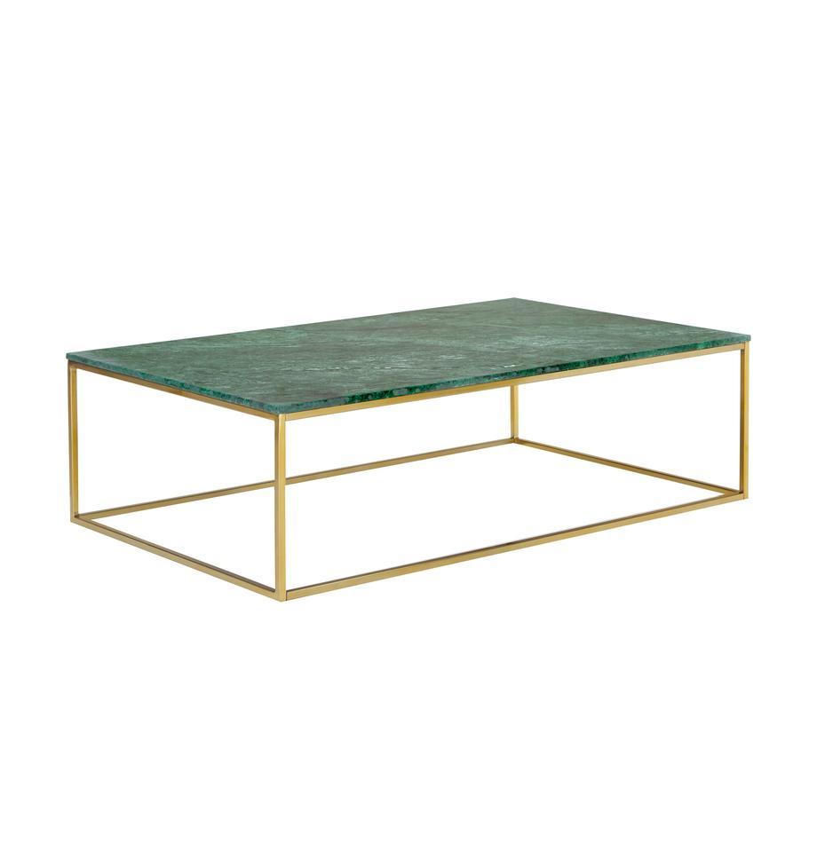 Stolik kawowy z marmuru Alys, Blat: marmur, Stelaż: metal powlekany, Zielony marmur, odcienie złotego, S 120 x W 35 cm
