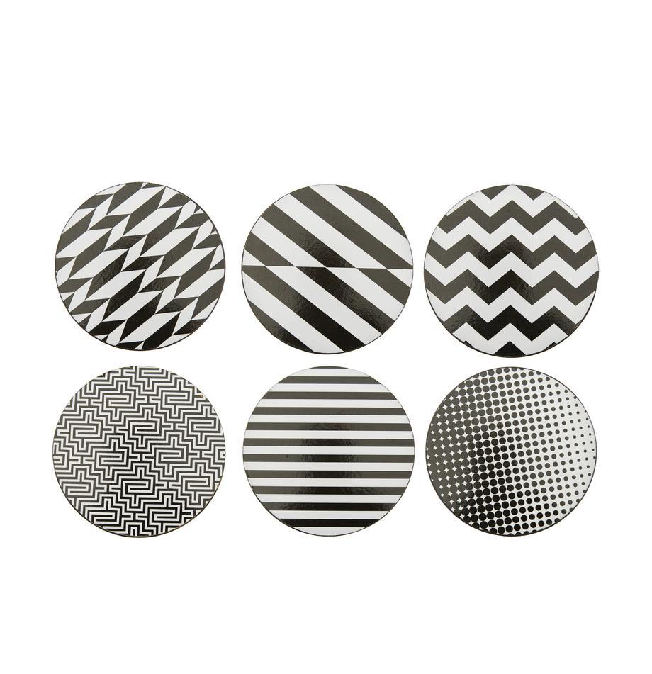 Untersetzer-Set Black and White, 6-tlg., Kork, beschichtet, Schwarz, Weiss, Ø 10 cm