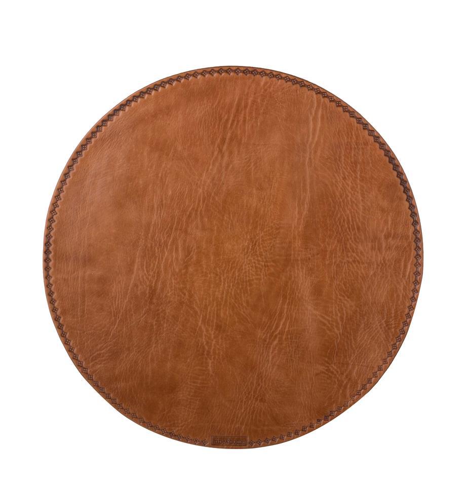 Okrągła podkładka ze skóry Lia, Skóra, Brązowy, Ø 40 cm