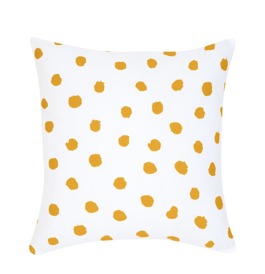 Gepunktete Kissenhülle Riley in Senfgelb/Weiß, 100% Baumwolle, Gelb-Orange, Weiß, 40 x 40 cm