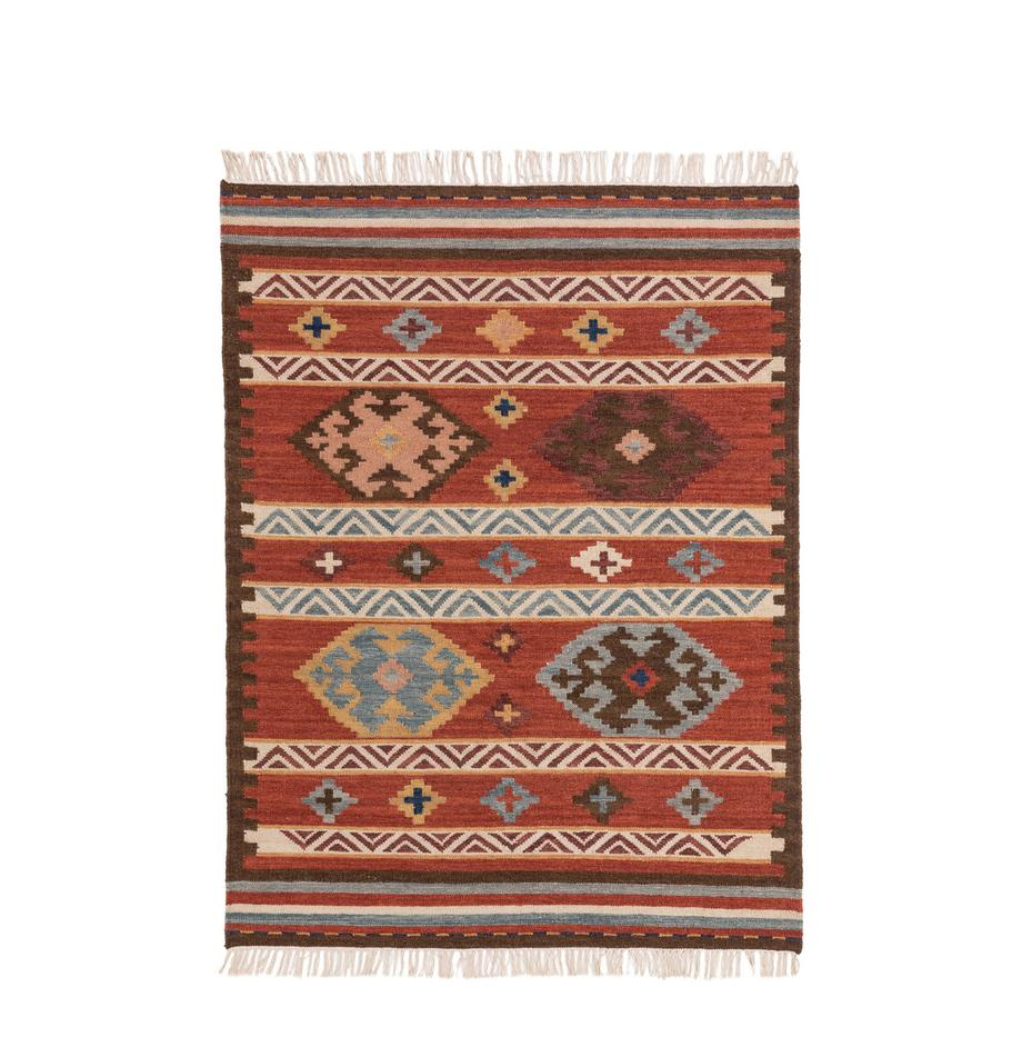 Handgeweven kelim vloerkleed Zohra van wol, Bovenzijde: 90% wol, 10% katoen, Onderzijde: wol, Rood, multicolour, B 120 x L 170 cm (maat S)
