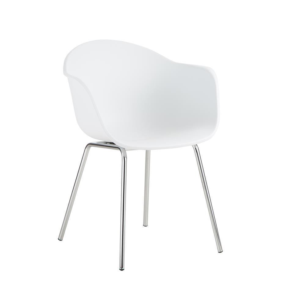 Kunststoff-Armlehnstuhl Claire mit Metallbeinen, Sitzschale: Kunststoff, Beine: Metall, galvanisiert, Weiß, Silber, B 54 x T 60 cm