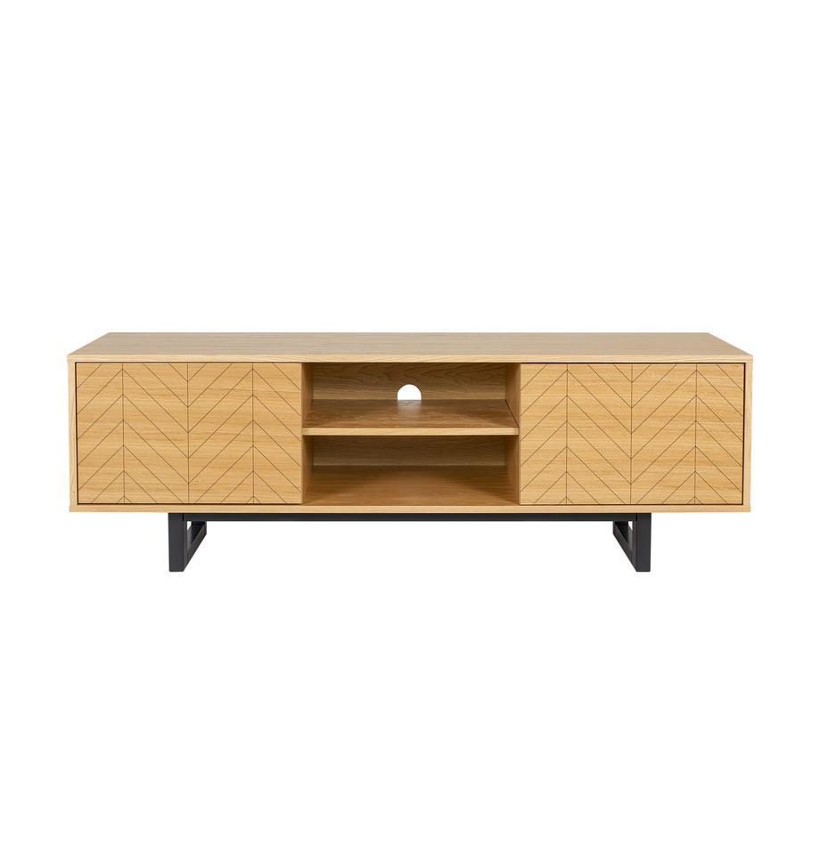 Mobile TV con ante e finitura in rovere Camden, Piedini: legno di betulla vernicia, Legno di quercia, Larg. 150 x Alt. 50 cm