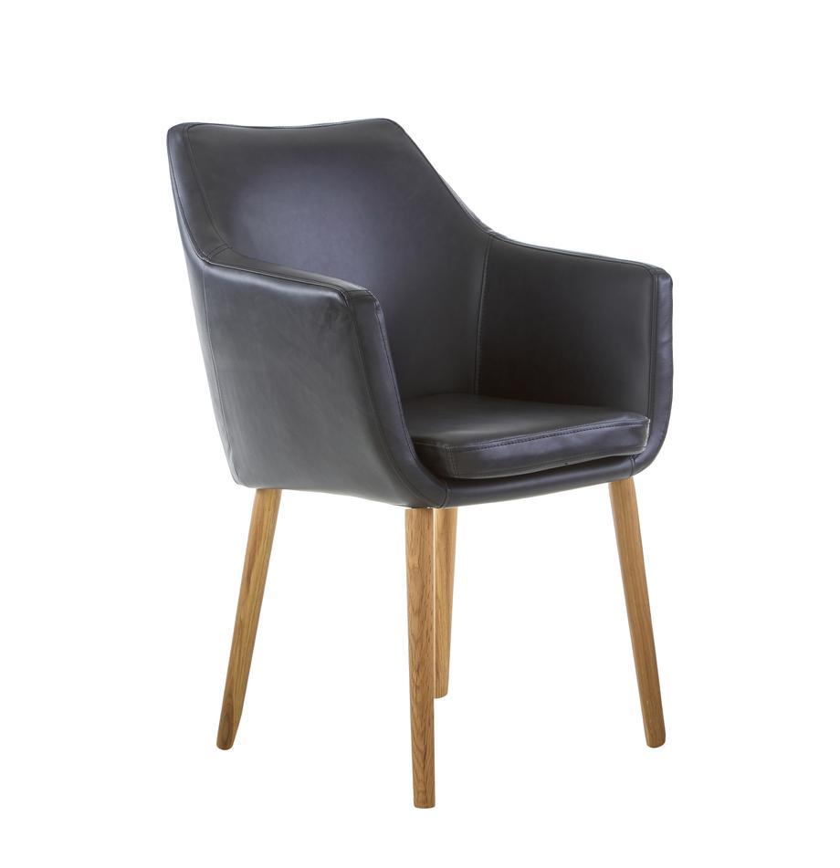 Kunstleren armstoel Nora, Bekleding: imitatieleer (polyurethaa, Poten: eikenhout, Bekleding: zwart. Frame: eikenhoutkleurig, B 56 x D 55 cm